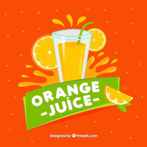 Background of orange juice with green details Free Vector