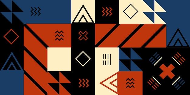 Фон окрашен в кубические формы и украшен линиями и разными цветами. простые формы, ретро-волна, глубокий черный и красный цвета. Premium векторы