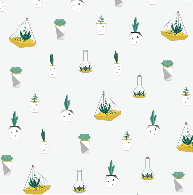 Background pattern with terarium Premium Vector