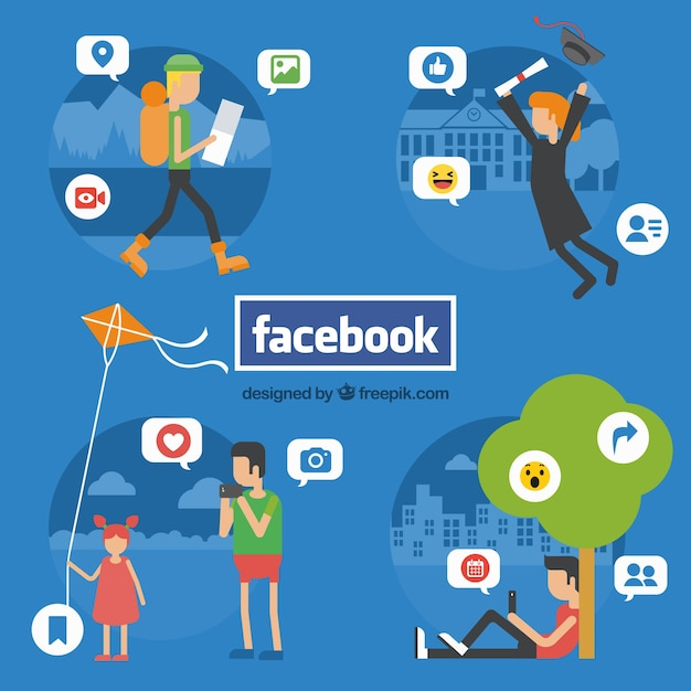 Background of people communicating with facebook Free Vector