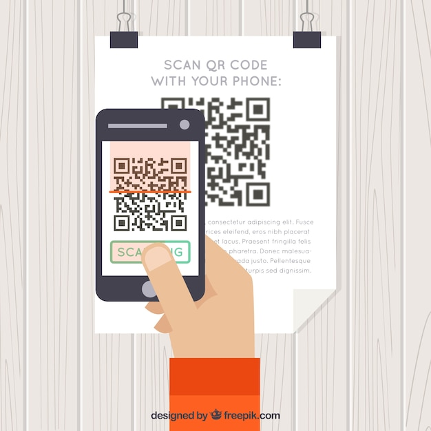 Background of person scanning qr code Vector | Free Download