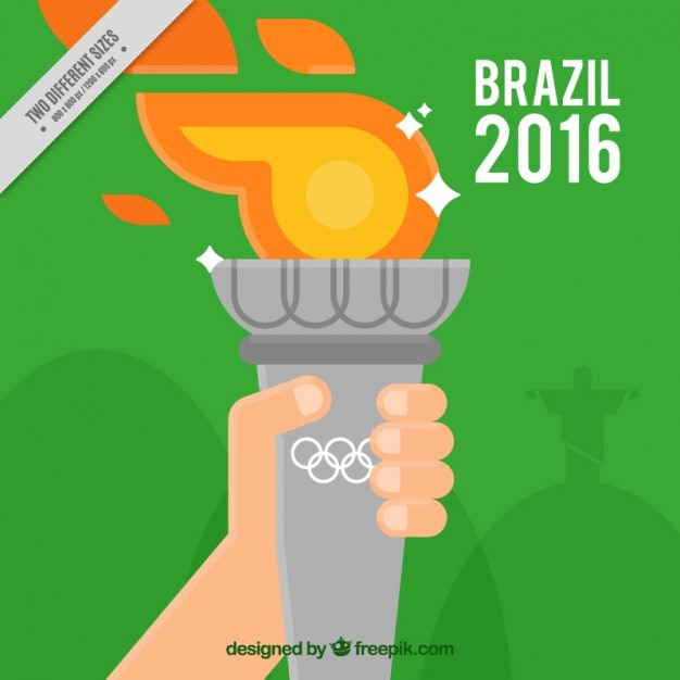 Background of a person with the olympic torch Free Vector