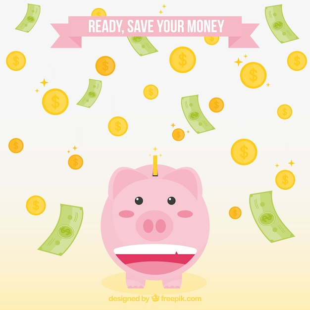 Background of piggy bank with bills and coins Free Vector