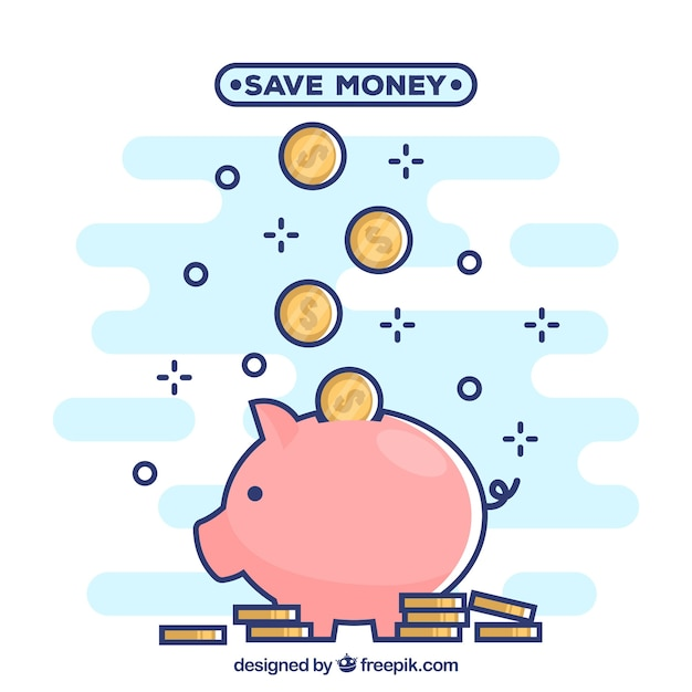 Background of piggy bank with coins in linear style Free Vector