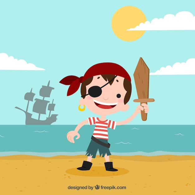 Background Of Pirate Boy On The Beach Vector