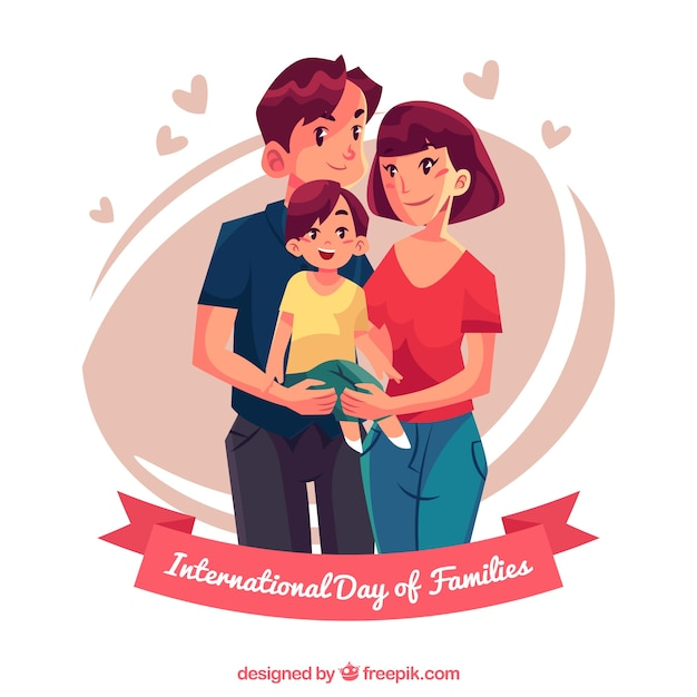 Background of pretty family with a son Free Vector