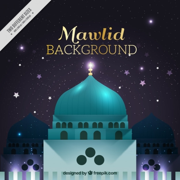 Background of the prophet mahoma with mosque Free Vector