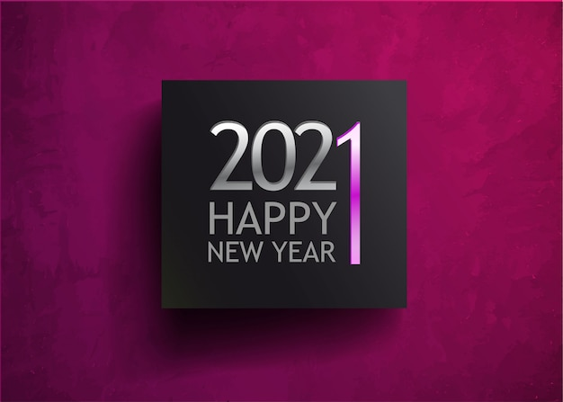 Background purple color new year celebration in black square. present magic postal.  festive  for holiday christmas decoration  template Premium Vector