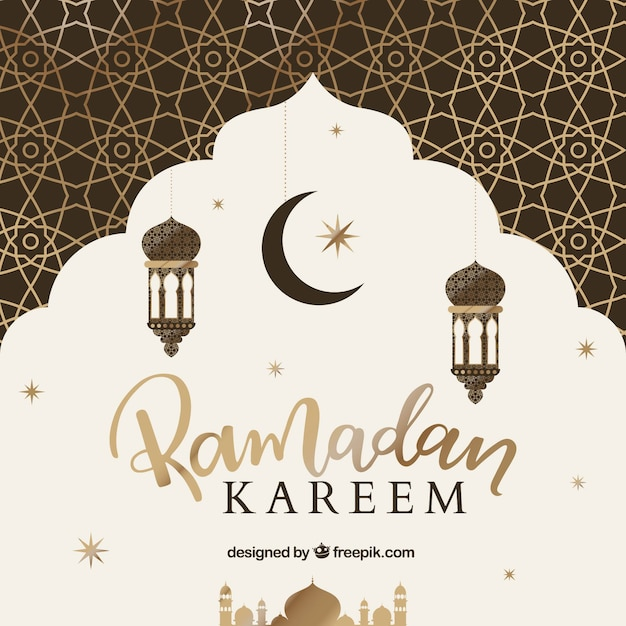 Background of ramadán with golden pattern Free Vector