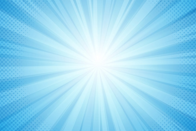 Background of rays from the sun, blue light in a comic style Premium Vector