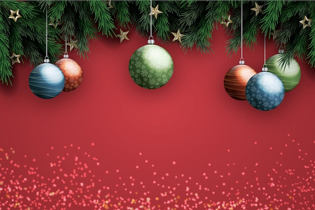 Background realistic decoration christmas Free Vector