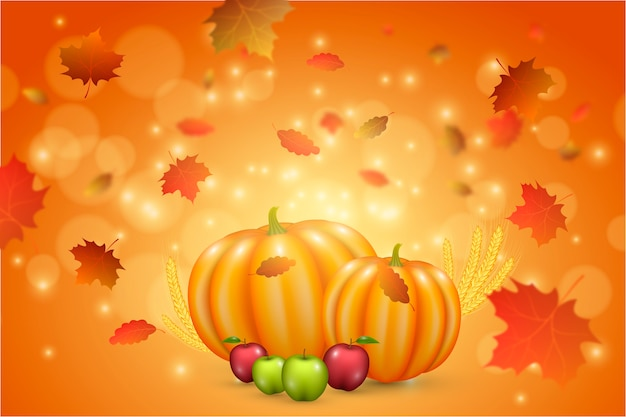 Background realistic thanksgiving Free Vector