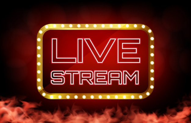 Premium Vector | Background of red neon live stream sign, online casino concept