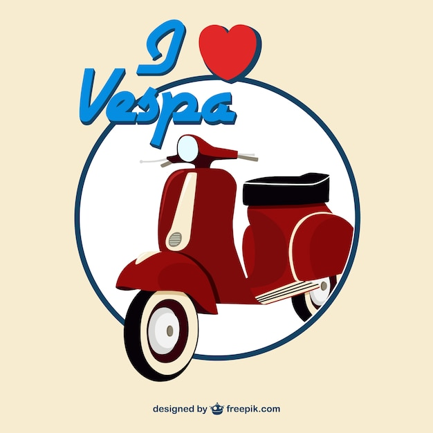 Background of red vintage scooter Free Vector