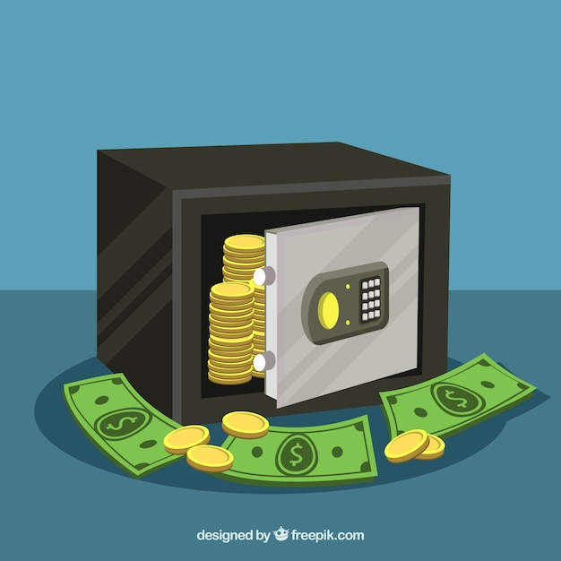 Background of safe with coins and banknotes Free Vector