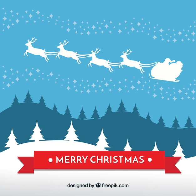 Sfondi Natalizi Renne.Sfondo Del Babbo Natale Sulla Slitta Vettore Gratis
