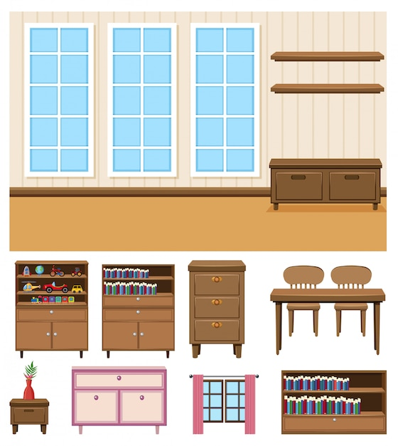 Background scene of empty room with set of furnitures on white background Premium Vector