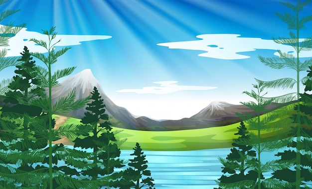 Background scene of lake and pine forest Free Vector