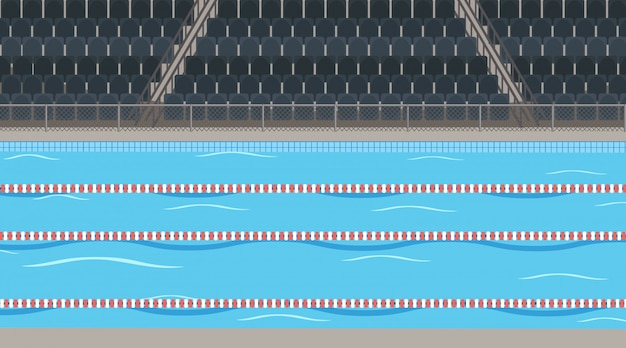 Background scene  of swimming pool with stadium Free Vector