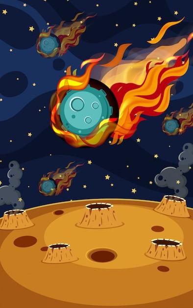 Фоновая сцена с астероидом в космосе Premium векторы