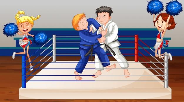 Scena di sfondo con atleti che combattono sul ring Vettore gratuito