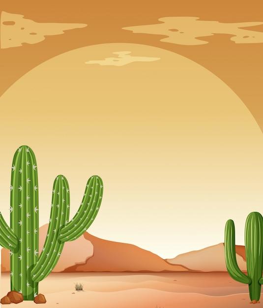 Background scene with cactus in desert Free Vector