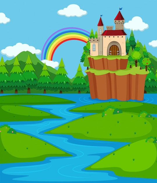 Background scene with castle towers and\ river