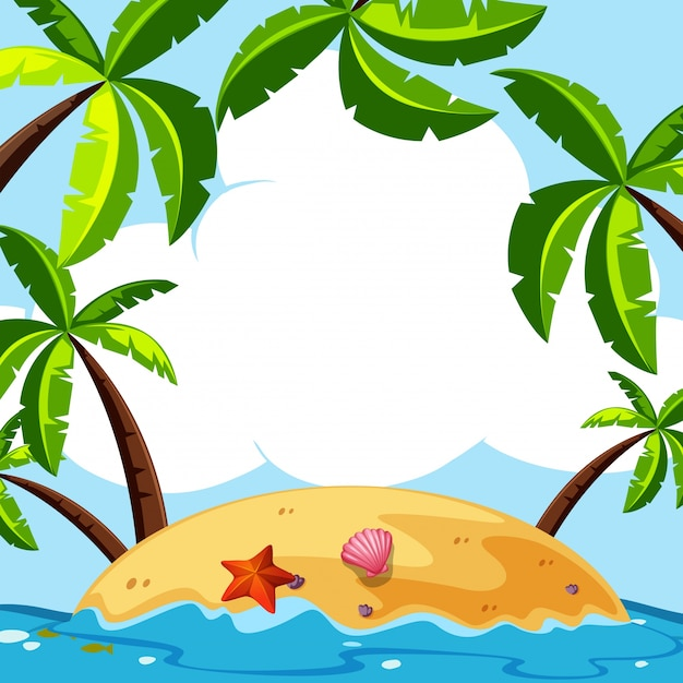 background scene with coconut trees on island vector