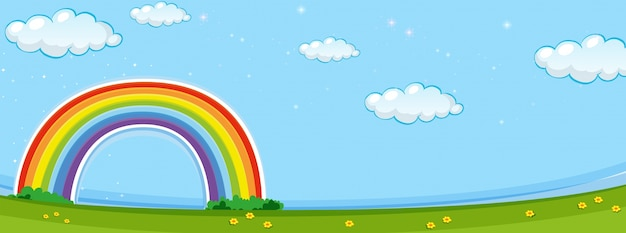 Background scene with colorful rainbow Free Vector