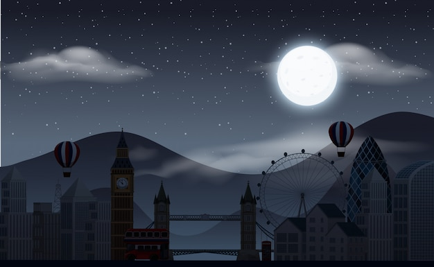 Background scene with dark sky over the amusement park Premium Vector