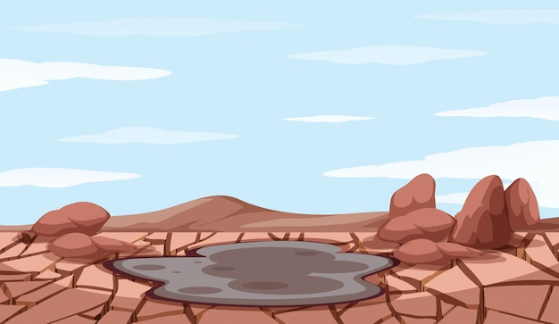 Background scene with drought and mud pond Free Vector