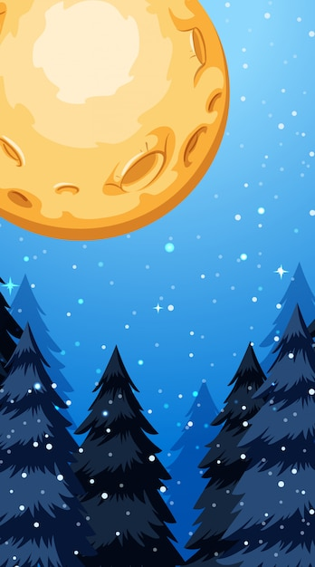 Background scene with fullmoon in winter Free Vector