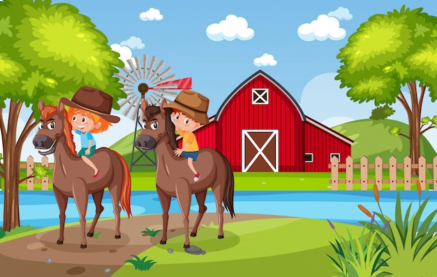 Background scene with kids riding horses in the park Premium Vector