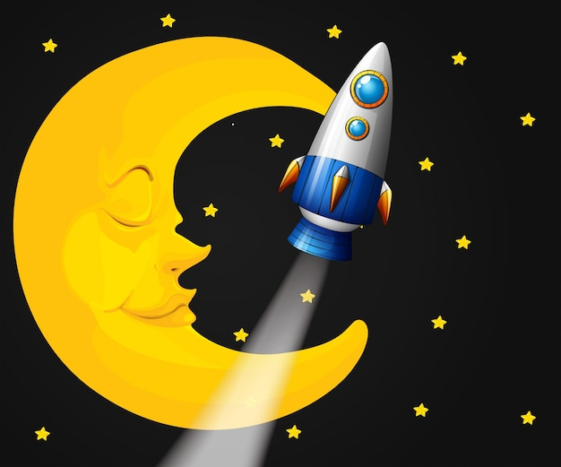 Background scene with moon and rocket Free Vector