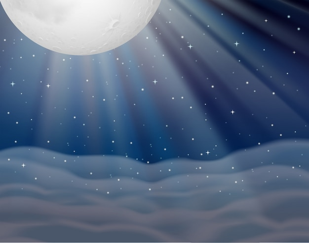 Background scene with moon in dark night