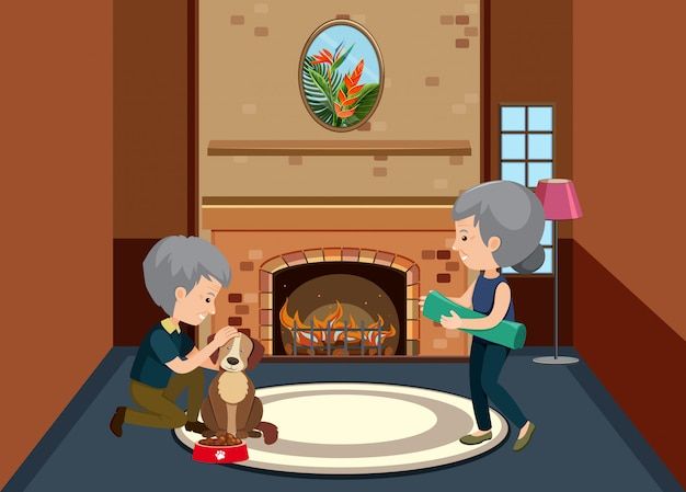 Background scene with old couple staying at home Premium Vector