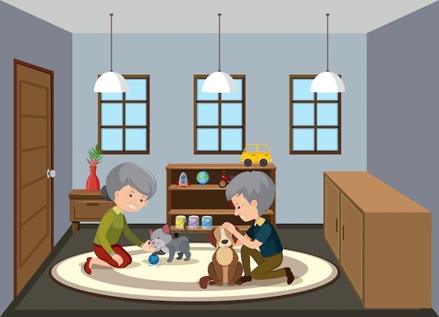 Фоновая сцена с пожилыми людьми, сидящими дома Premium векторы