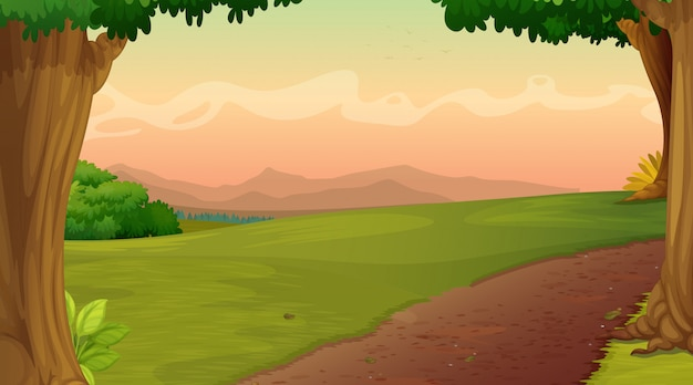Background scene with road in the park Free Vector