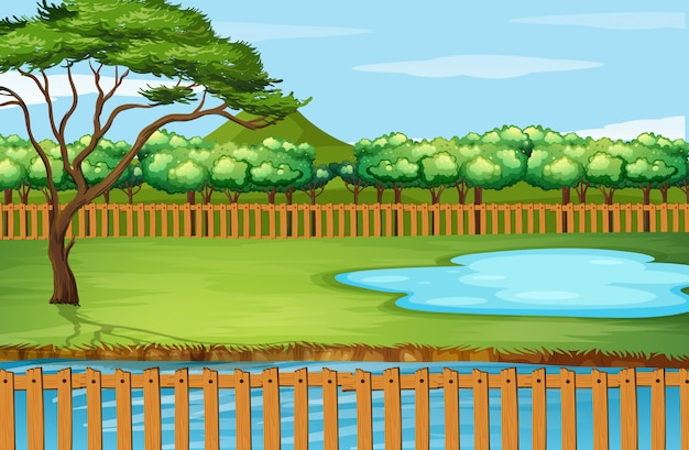 Background scene with tree and pond Free Vector