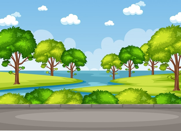 Background scene with trees and lake in the park Premium Vector