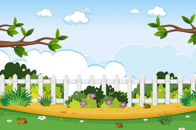 Background scene with trees in the park Premium Vector