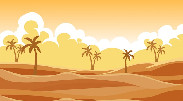 Background scene with trees in the sand Free Vector