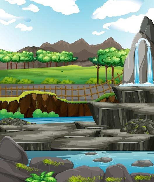 水と岩の背景シーン 無料ベクター