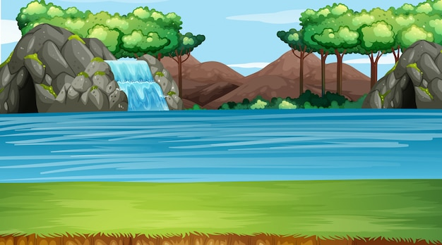 滝と川の背景シーン Premiumベクター