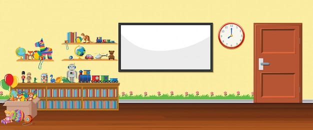 Background scene with whiteboard and toys Free Vector