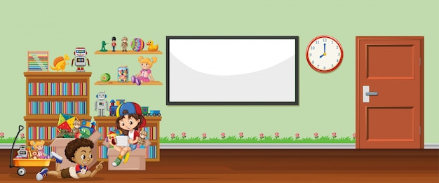 Background scene with whiteboard and toys Premium Vector