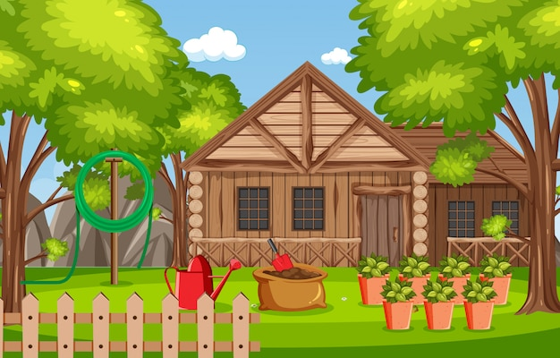 Background scene with wooden house in the woods Premium Vector