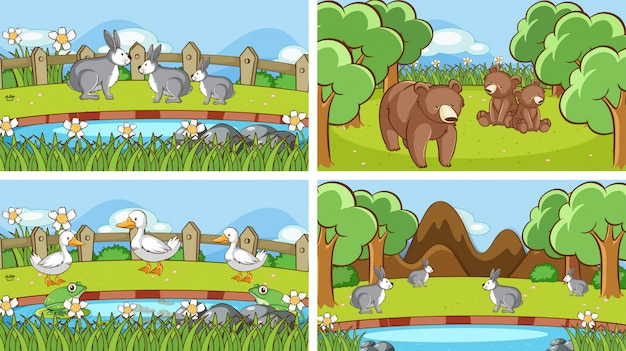 Background scenes of animals in the wild Free Vector