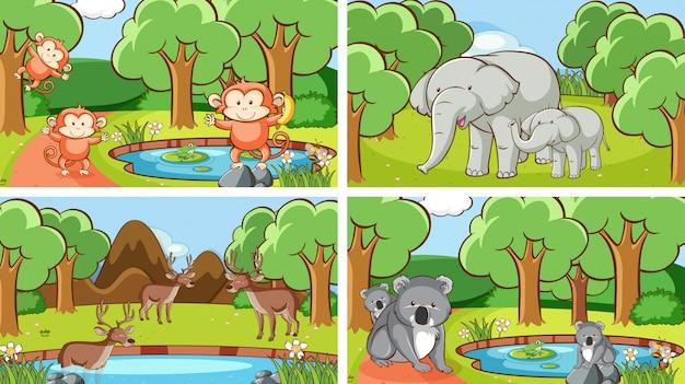 野生の動物の背景シーン 無料ベクター