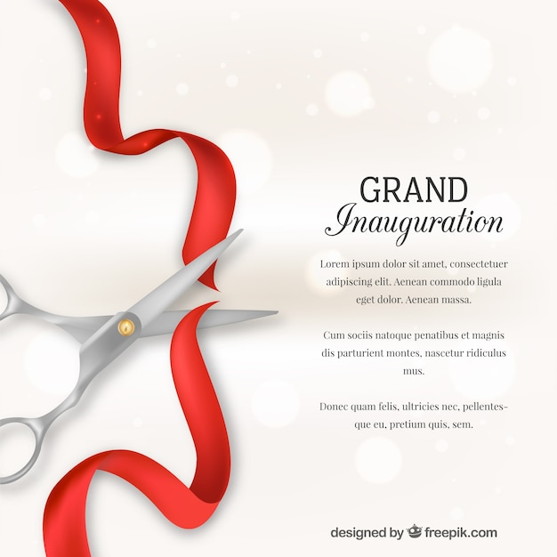 Background of scissors cutting a red ribbon Free Vector